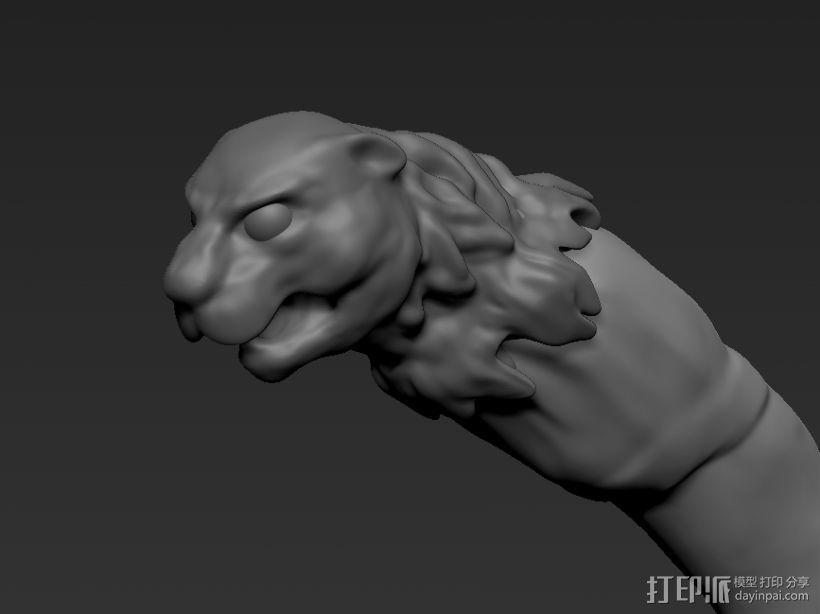 豹头狼牙 3D打印模型渲染图