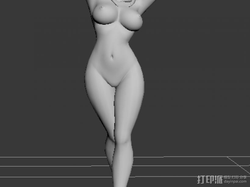 裸体卡通MM 3D打印模型渲染图