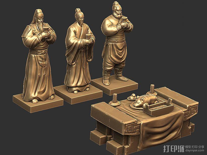 三国演义桃园结义——模型合集 3D打印模型渲染图