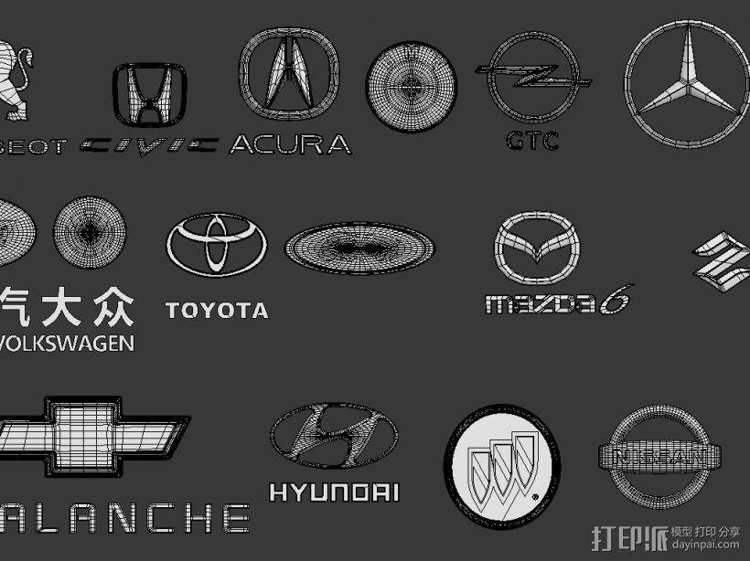 汽车标志 3D打印模型渲染图