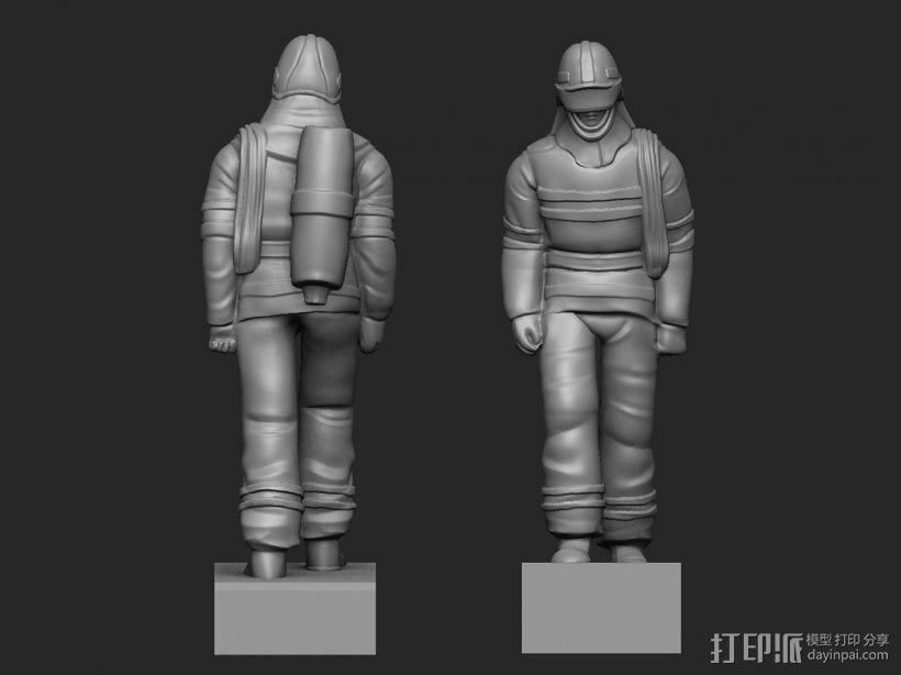 最帅的逆行——英雄消防员 3D打印模型渲染图