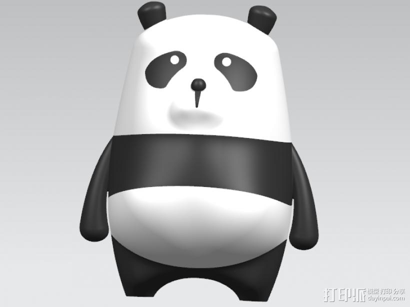 可爱小熊猫 3D打印模型渲染图