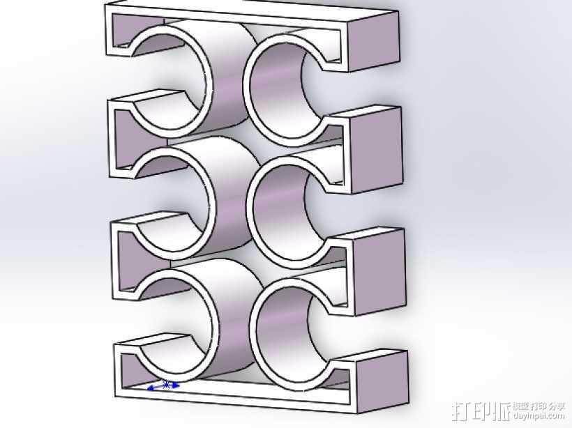 烟花火箭支架 6连装 3D打印模型渲染图