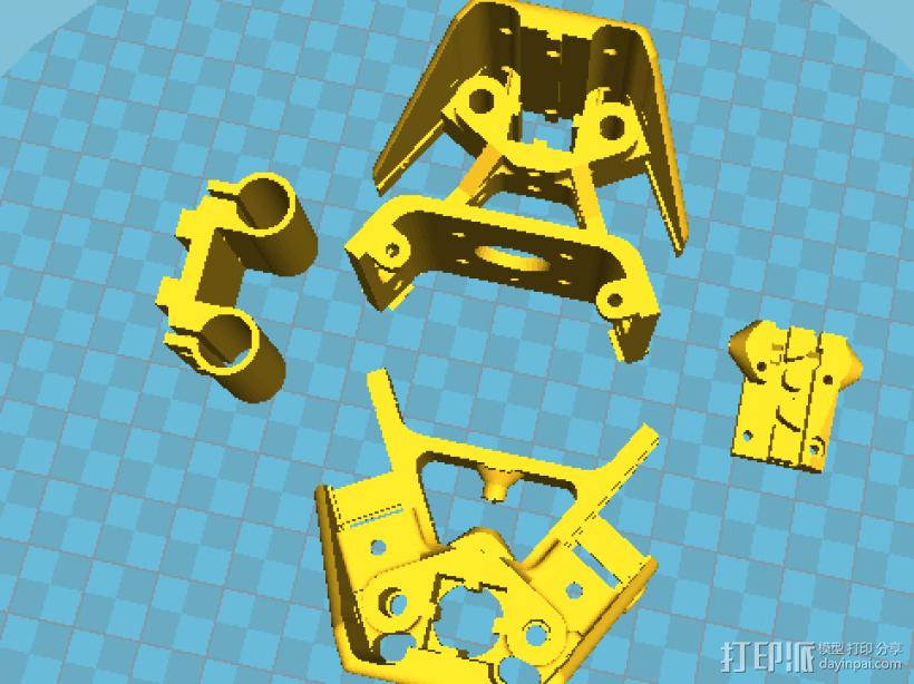 国标2020光轴版支撑角件+轴承支架+皮带固定架 3D打印模型渲染图