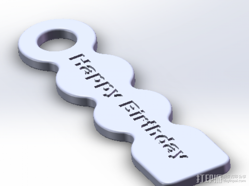 Happy Birthday 标示牌 3D打印模型渲染图
