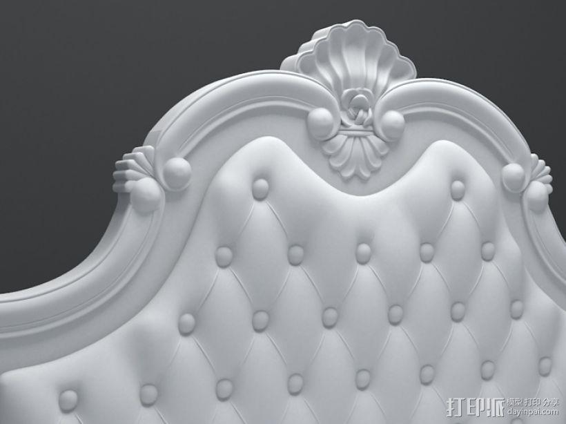 三维精品欧式雕花床模型 3D打印模型渲染图