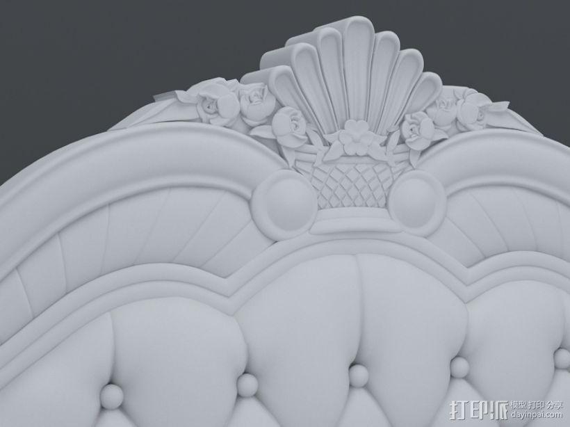 精品雕花床模型 3D打印模型渲染图