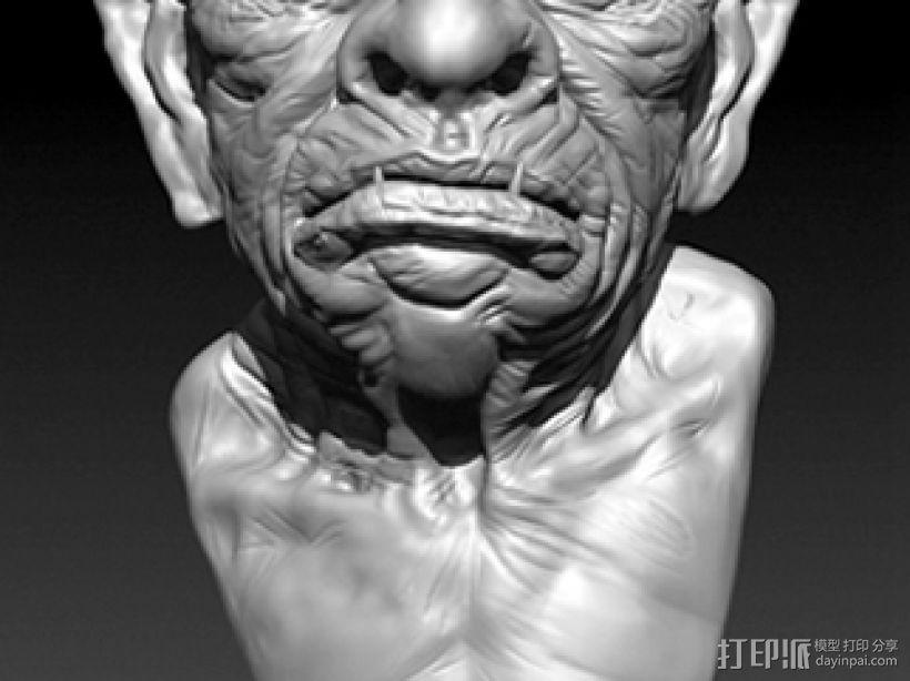 带角的怪兽高模 3D打印模型渲染图