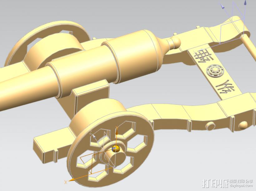 大炮模型 ,军事模型 3D打印模型渲染图