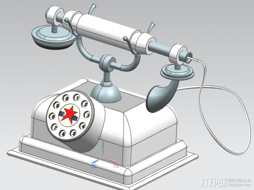 电话模型古典模型欧美风格电话3D打印 3D打印模型渲染图