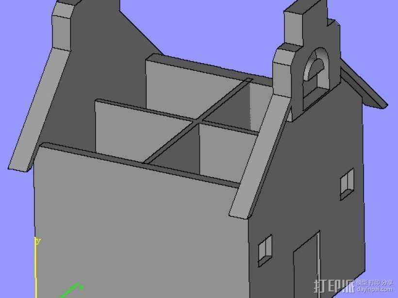 房子笔筒,,建筑模型  3D打印模型渲染图