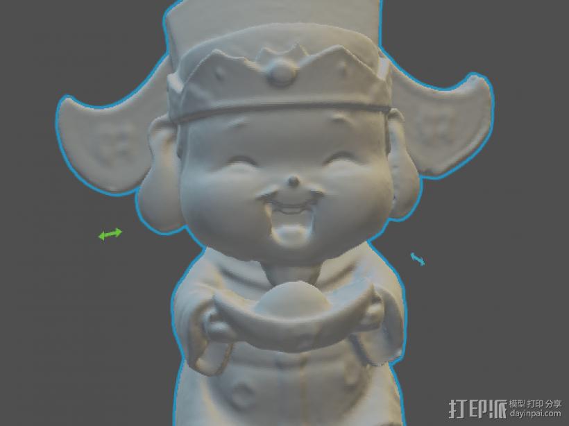 财神爷 3D打印模型渲染图
