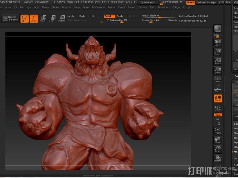 肌肉牛头战士 3D打印模型渲染图