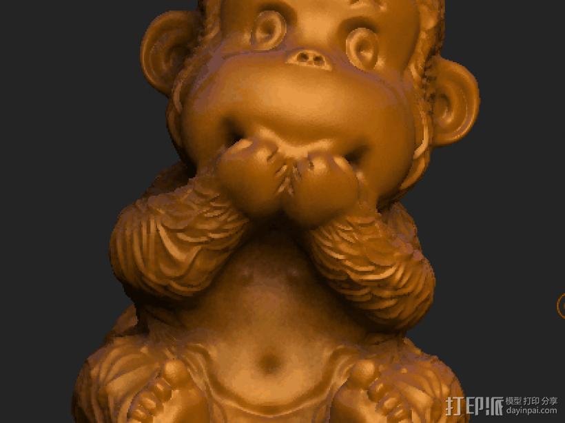 ZB精雕 茶宠 四不猴二  不说猴 obj格式 3D打印模型渲染图