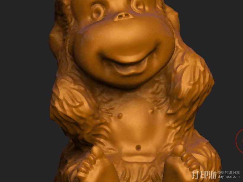 ZB精雕 茶宠 四不猴一三 不听猴 obj格式 3D打印模型渲染图