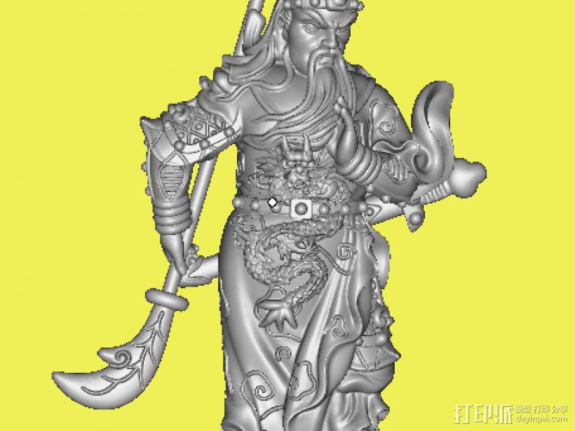持剑拿刀大关公 3D打印模型渲染图