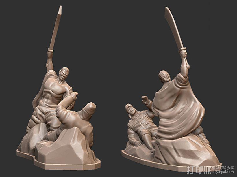 抗战胜利70周年纪念——大刀向鬼子头上砍去 3D打印模型渲染图