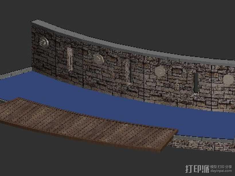小区街头水景景观 3D打印模型渲染图