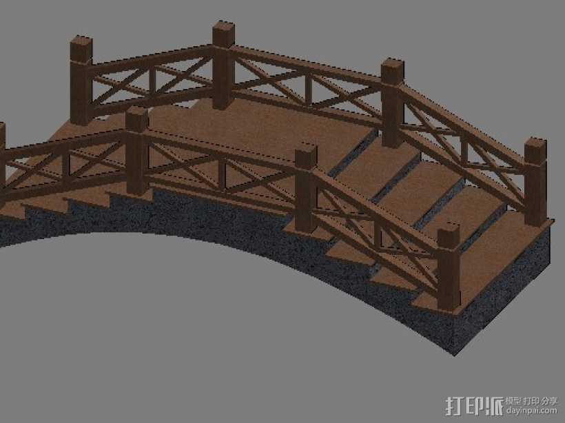 景观小桥 3D打印模型渲染图