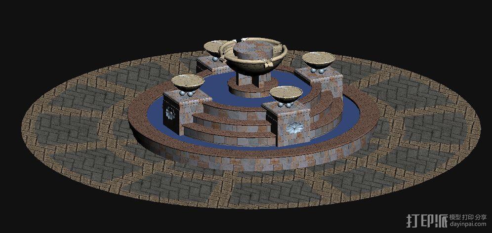 欧式 叠水  3D打印模型渲染图