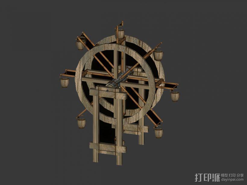 水车 3D打印模型渲染图