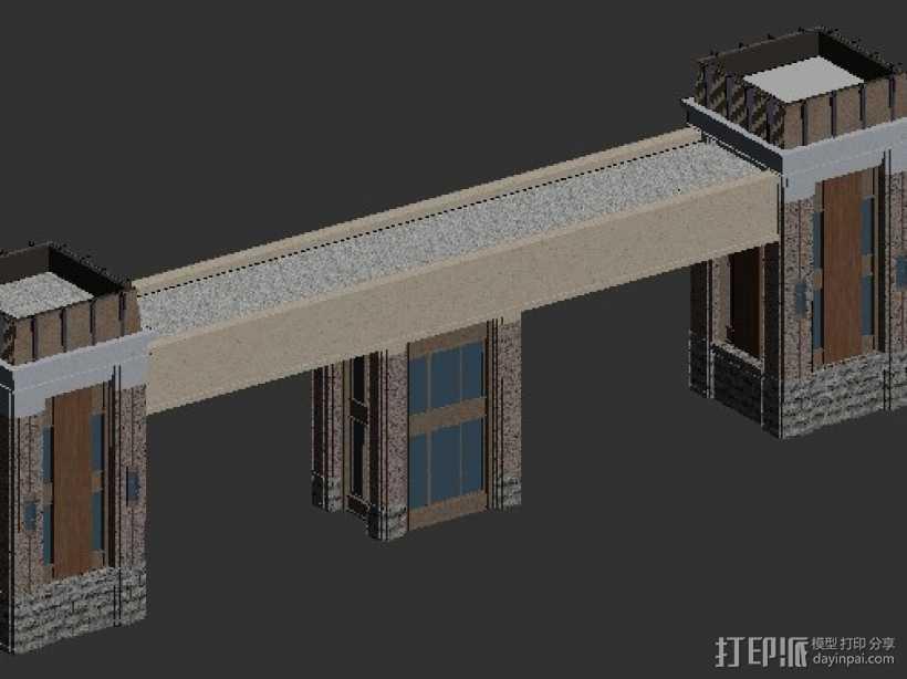 小区大门 3D打印模型渲染图