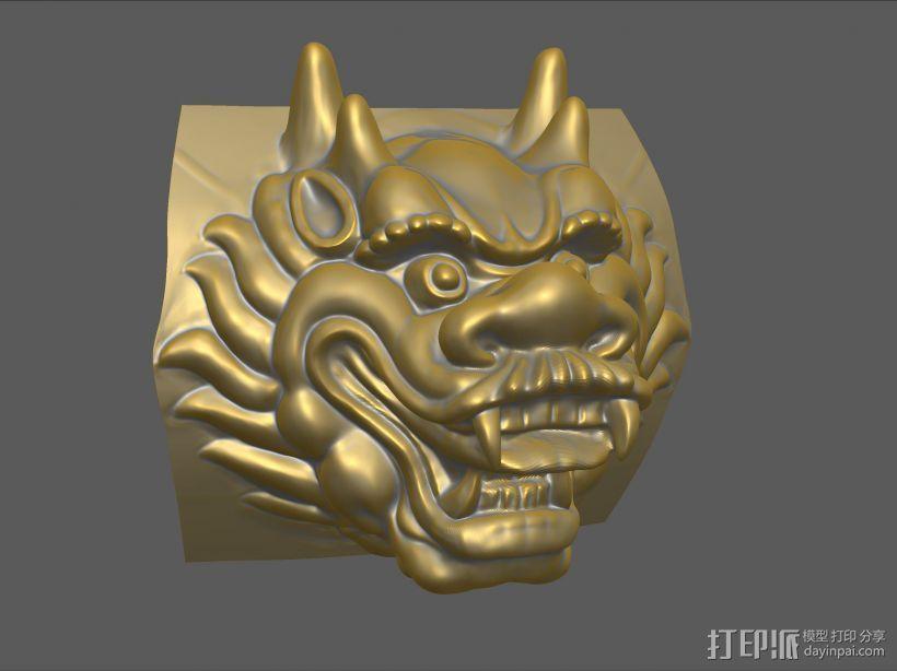 铜质龙头兽首数字雕刻 3D打印模型渲染图