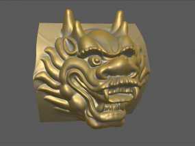 铜质龙头兽首数字雕刻