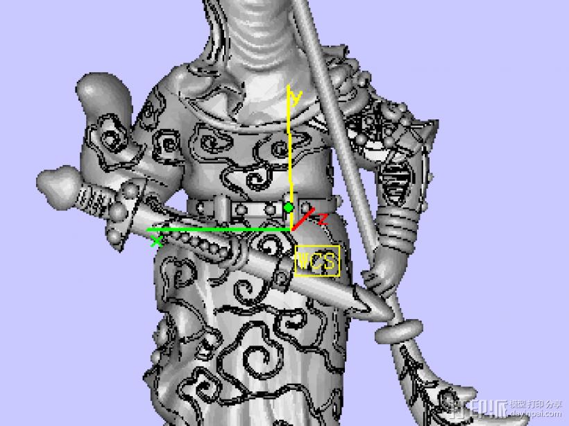 威武关公 3D打印模型渲染图