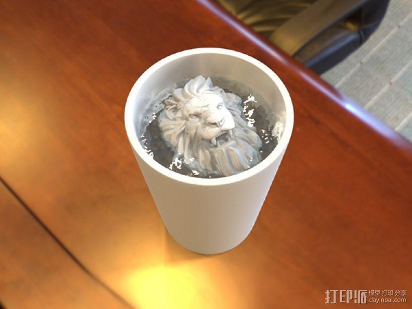 狮头水杯 3D打印模型渲染图