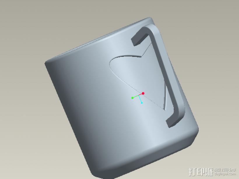 爱心杯子 3D打印模型渲染图
