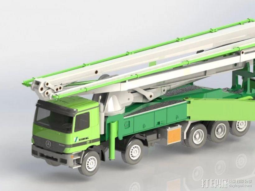 水泥泵车 3D打印模型渲染图