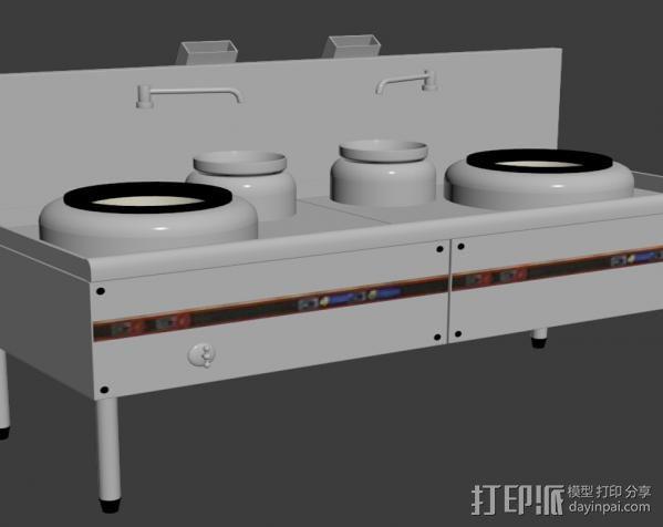 酒店灶 3D打印模型渲染图