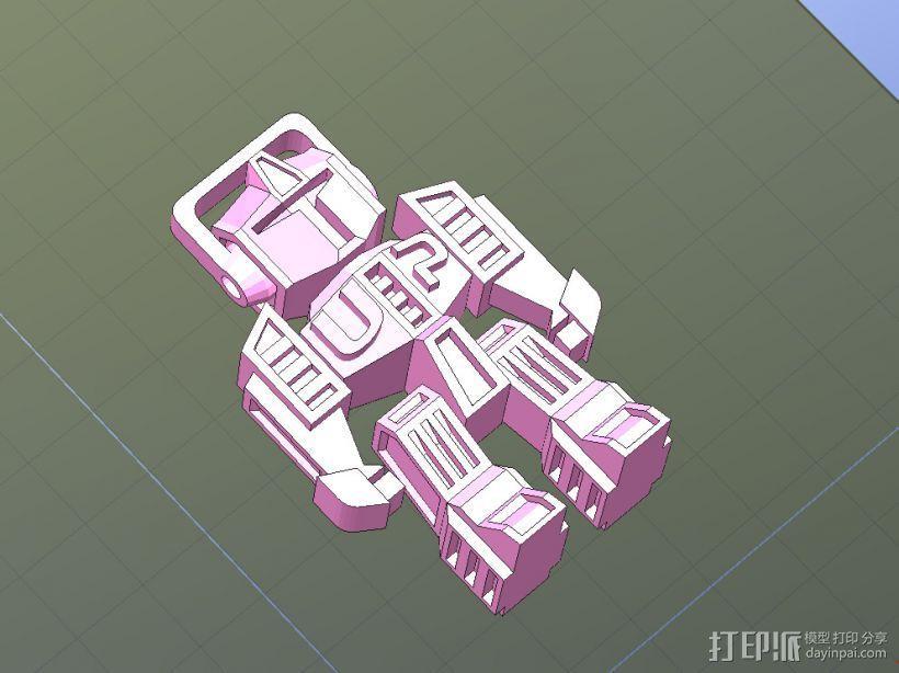 机器人钥匙扣-一次性打印,头和四肢可动 3D打印模型渲染图