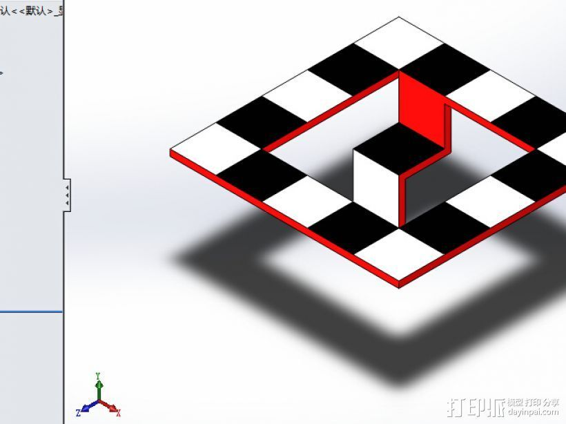 不可能的棋盘,建模服务,3d打印服务 3D打印模型渲染图