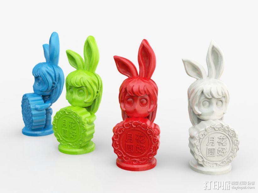 中秋节——兔女郎 3D打印模型渲染图