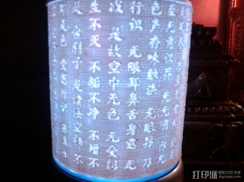 透光 浮雕 波罗蜜心经 底光灯柱 3D打印模型渲染图