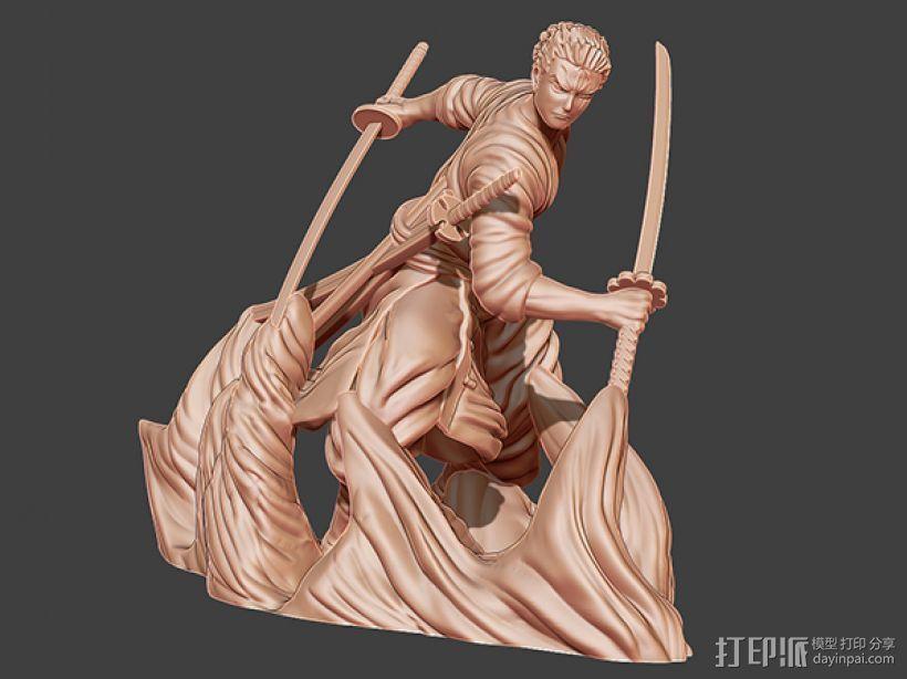《海贼王》——罗罗亚·索隆 3D打印模型渲染图