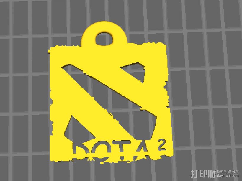 DOTA2 logo钥匙挂件 3D打印模型渲染图