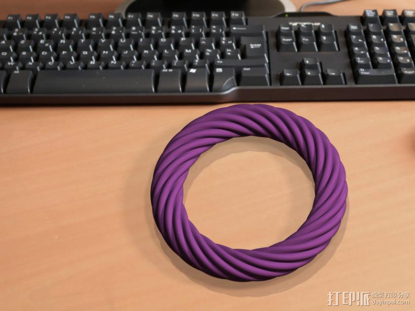 荷花截面螺旋手镯 3D打印模型渲染图