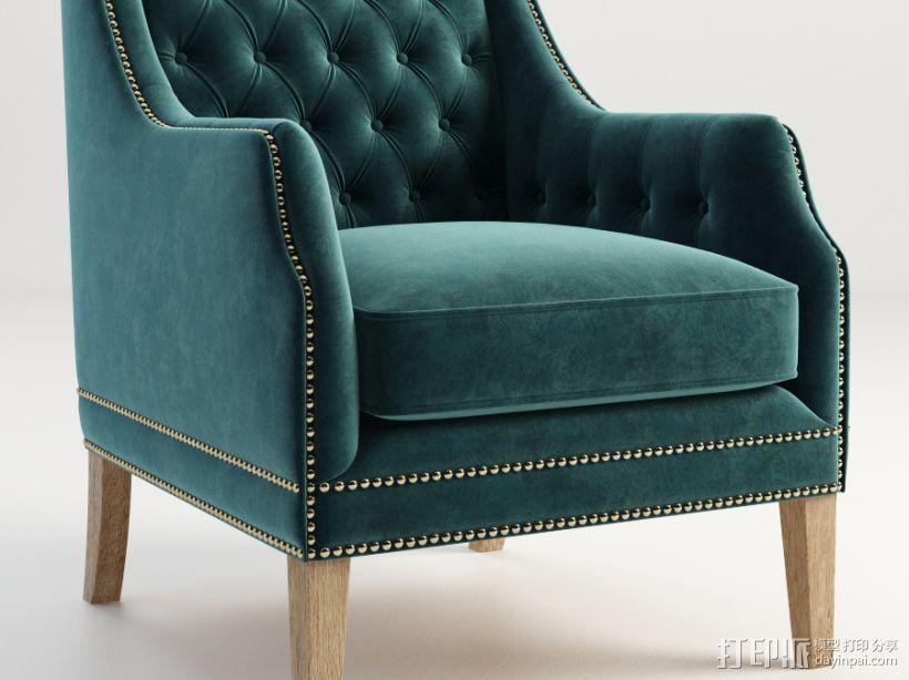 蓝色椅子 3D打印模型渲染图