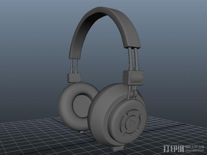 头戴式的耳机 3D打印模型渲染图