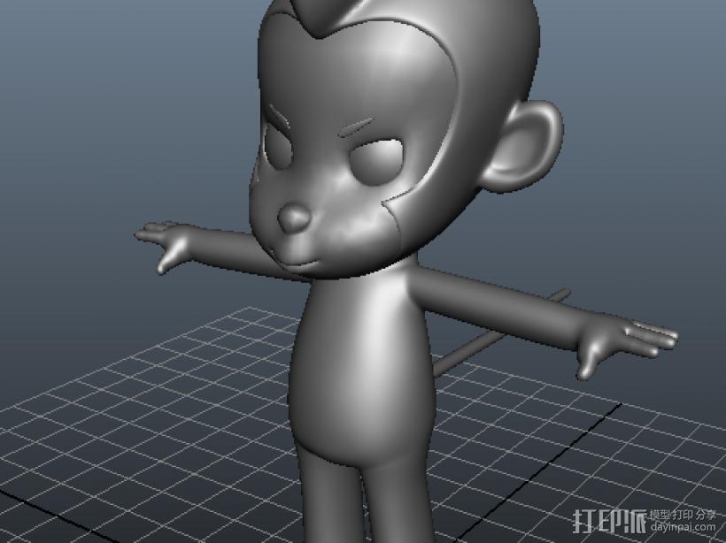 猴子 3D打印模型渲染图