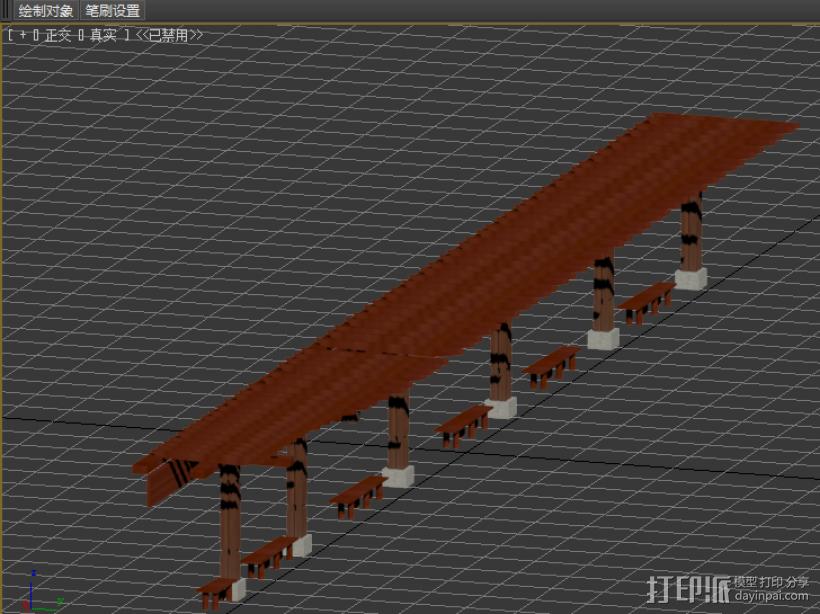 单个凉亭 3D打印模型渲染图