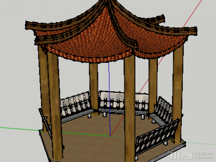中式景观亭 3D打印模型渲染图
