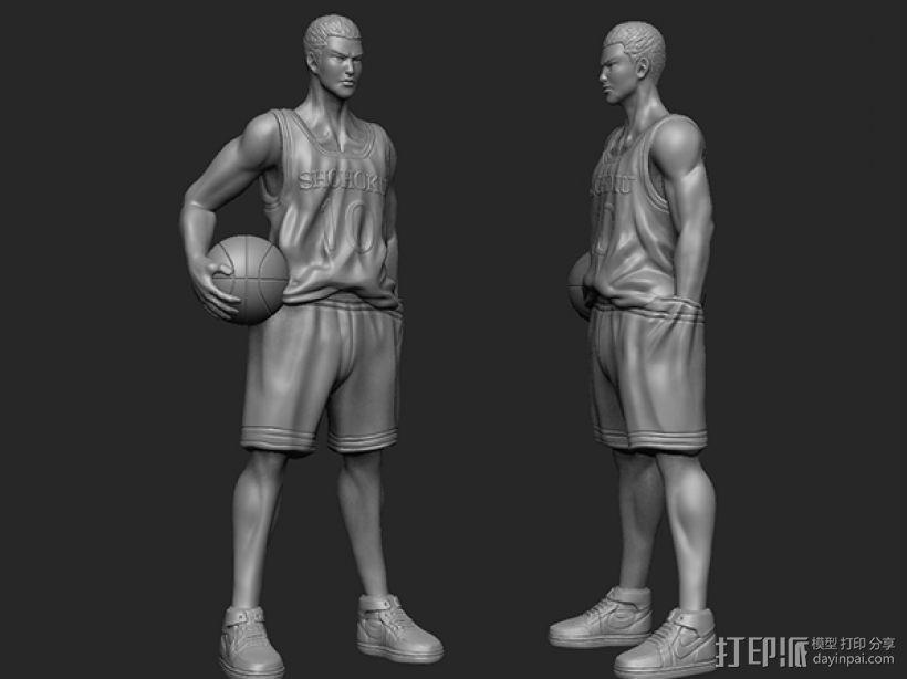 《灌篮高手》——樱木花道 3D打印模型渲染图