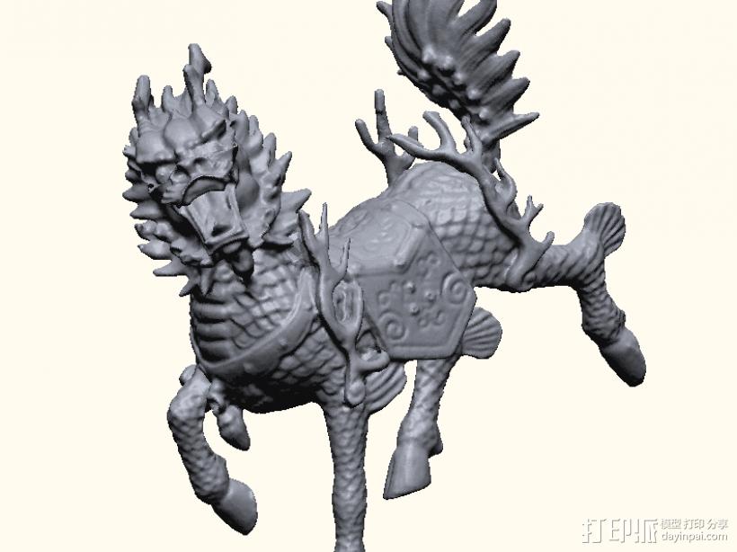 麒麟 3D打印模型渲染图
