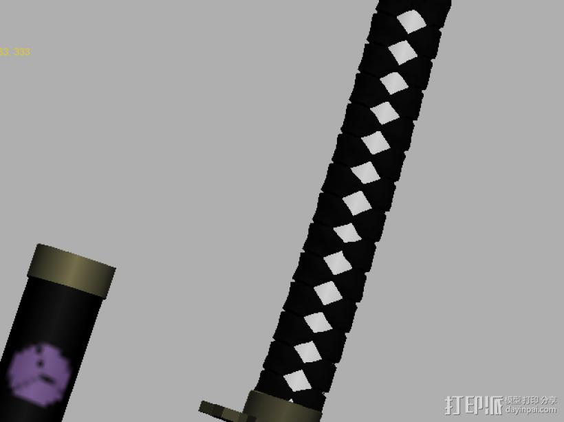 【武士刀】4把高模 3D打印模型渲染图
