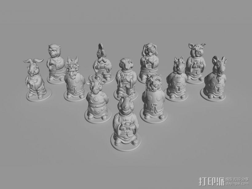 十二生肖贺新春摆件系列—全套 3D打印模型渲染图