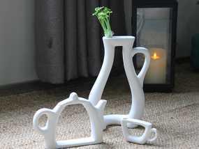《茶艺花器》现代创意摆件